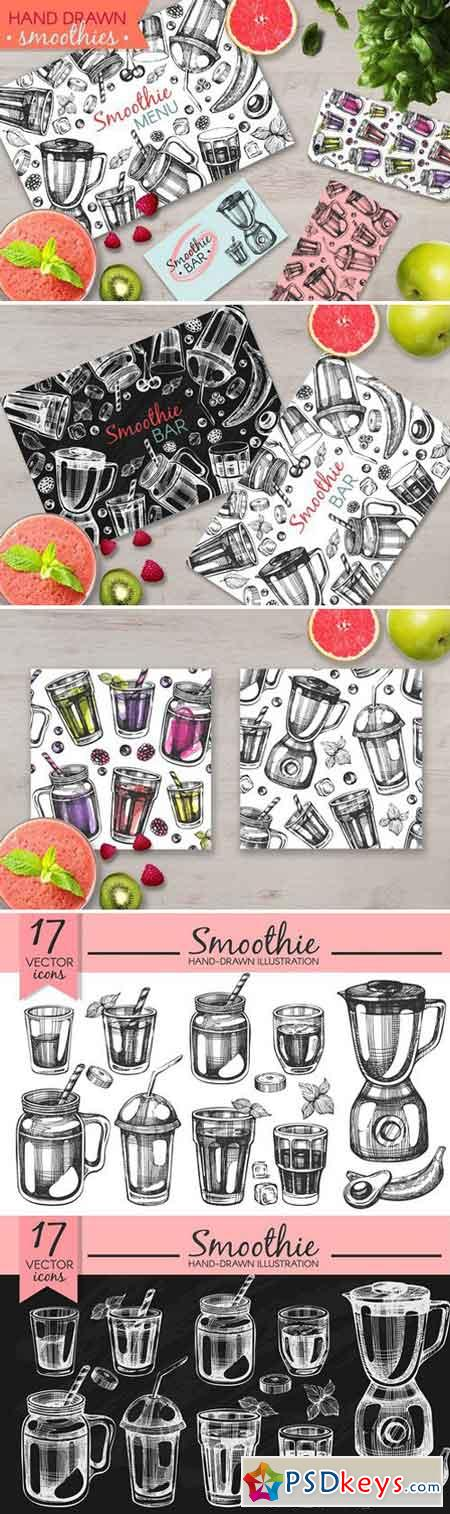 Smoothies - hand drawn illustrations 2429187