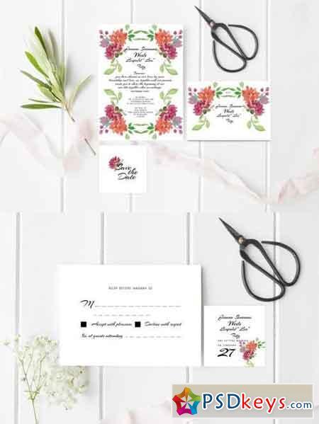 Peonies Watercolour Wedding Invitation Suite
