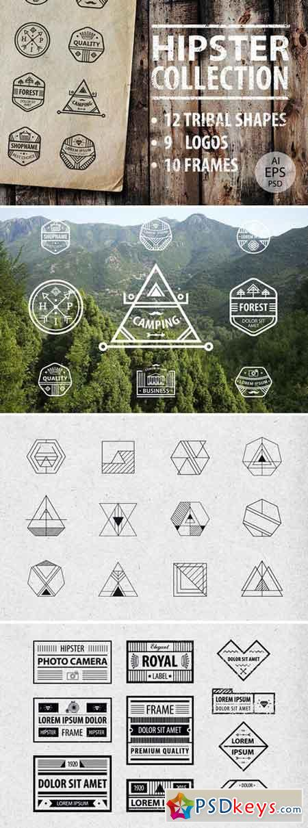 HIPSTER LOGOS AND SHAPES COLLECTION 347027