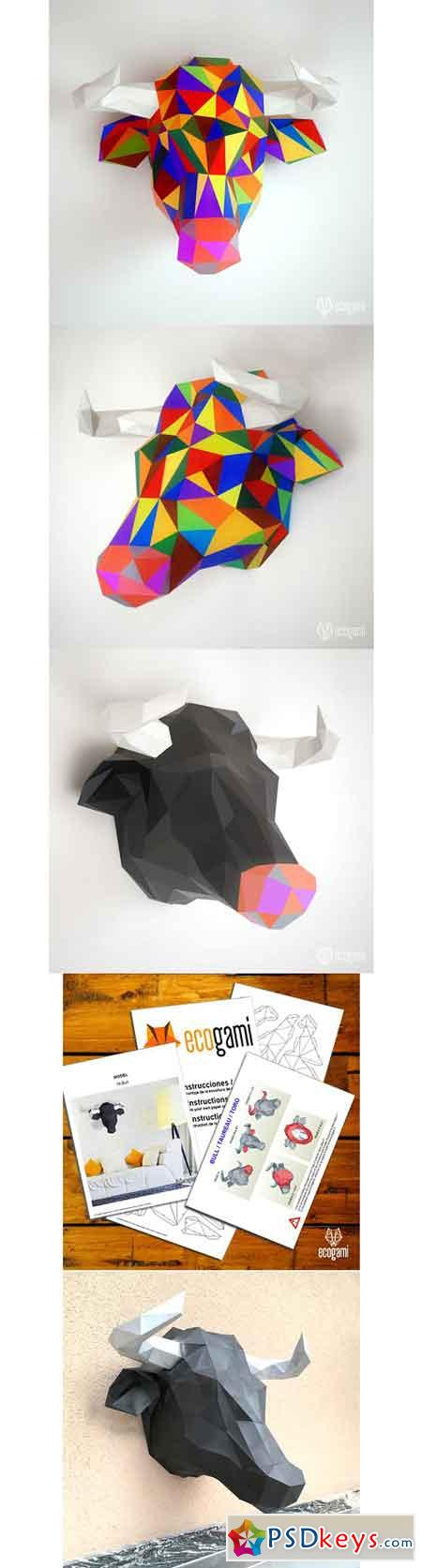 DIY papercraft project Bull trophy 2508526