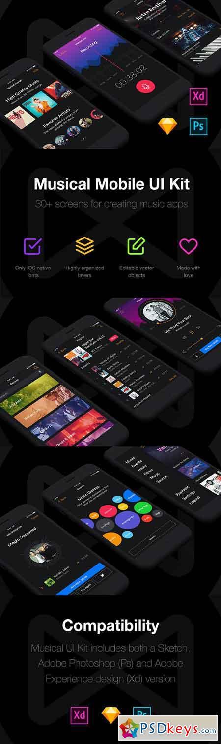 Musical Mobile UI Kit 1820243