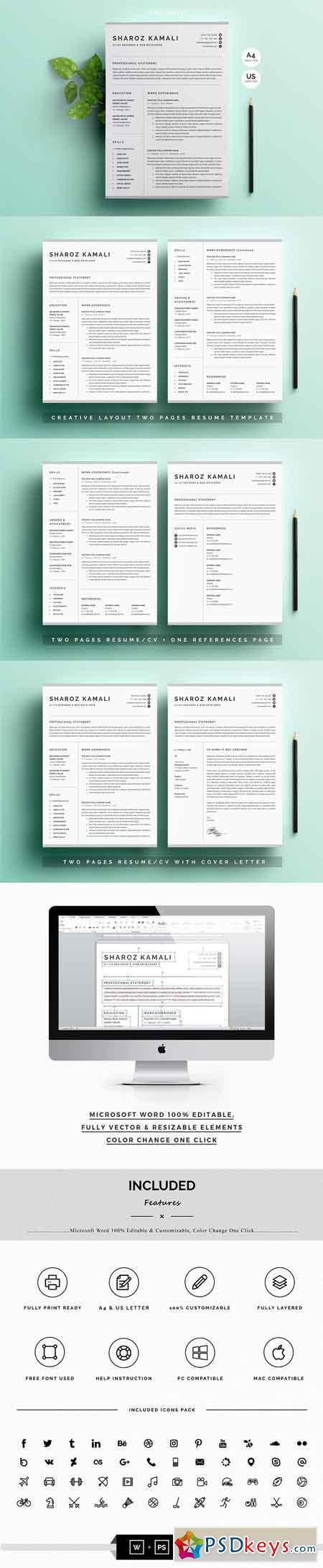 Resume CV Template 4 Pages Pack 2418393