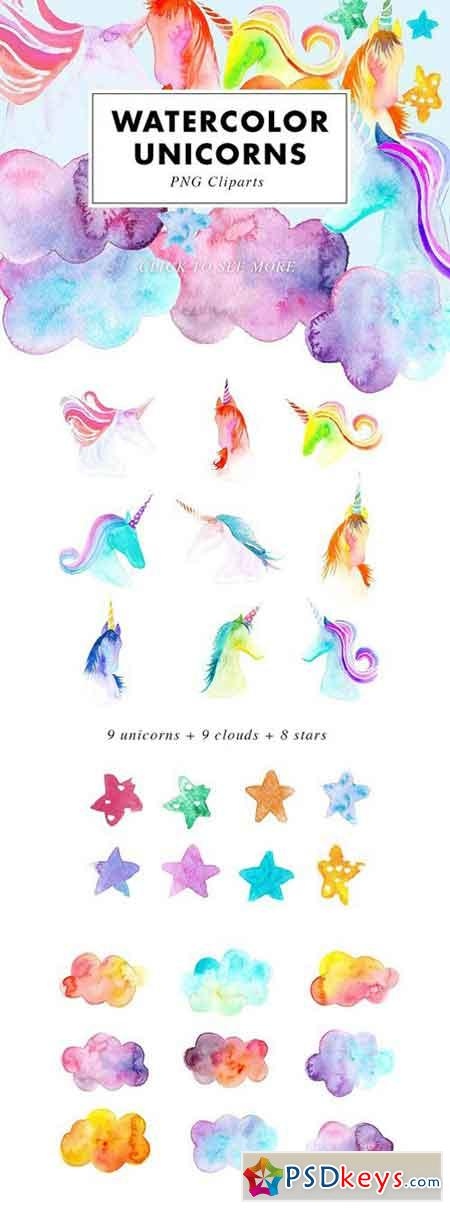 26 Watercolor Unicorn Illustrations 2413134