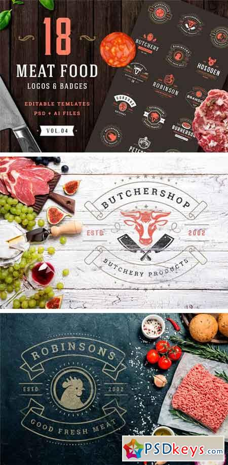 18 Meat Food Logos and Badges 2395276