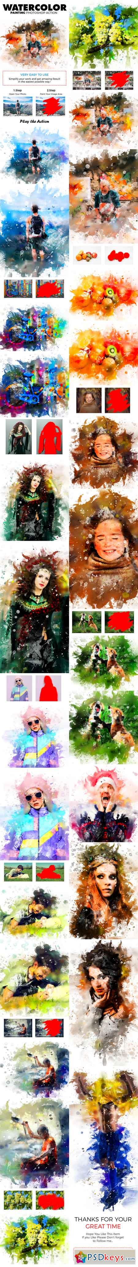 Watercolor Painting Photoshop Action 21875063