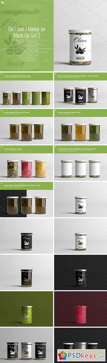 Oil Jam Honey Jar Mock-up Set.2 2159396
