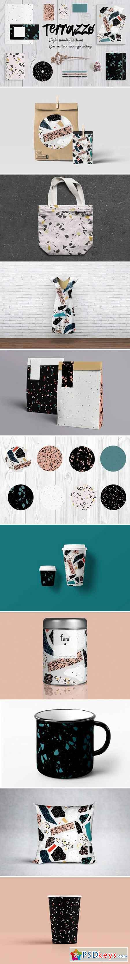 8 Terrazzo seamless patterns. Vector 2457850