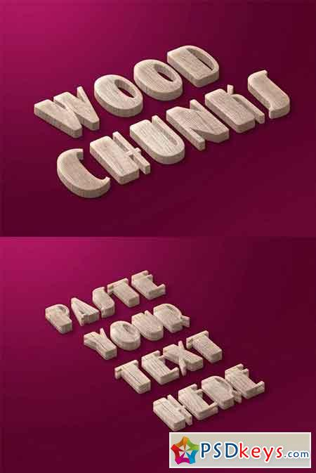 Wood Chunks Text Effect