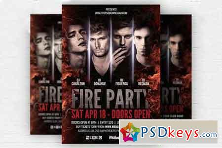 Fire Party Flyer PSD Template