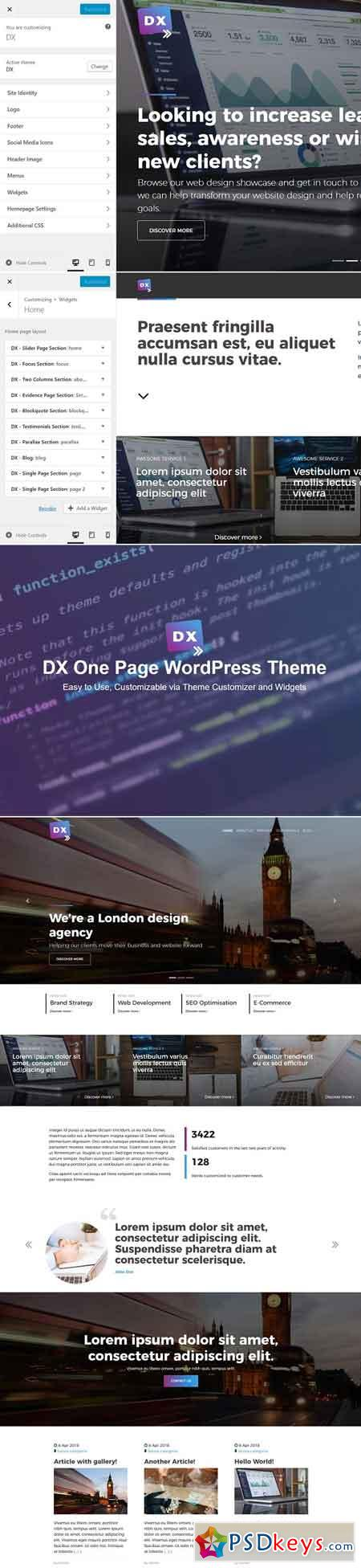 Dx - One Page WordPress Theme 2549657
