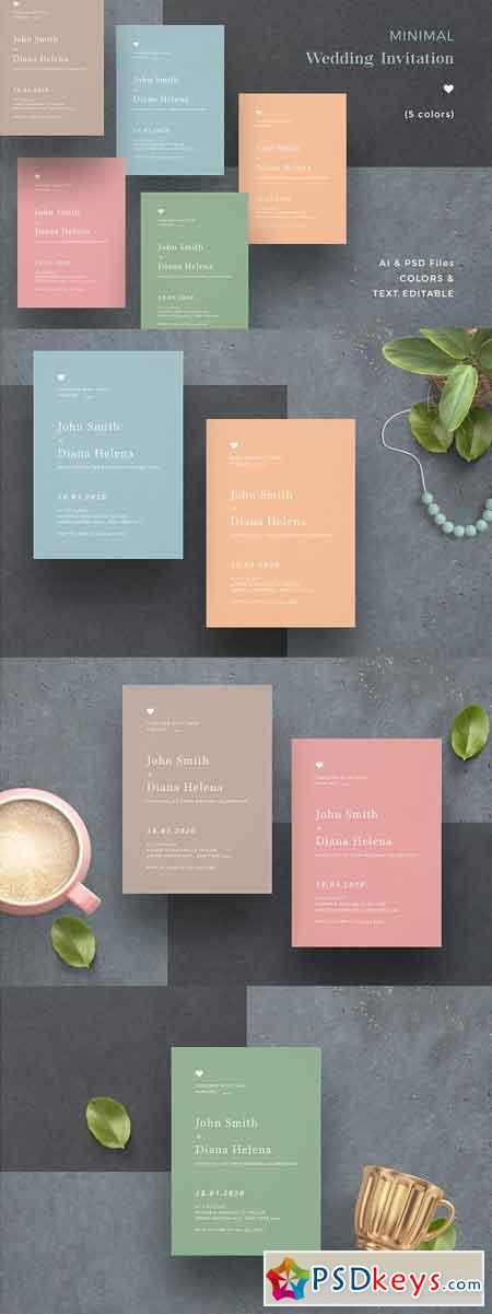 Minimal Colorful Wedding Invitation 2442002