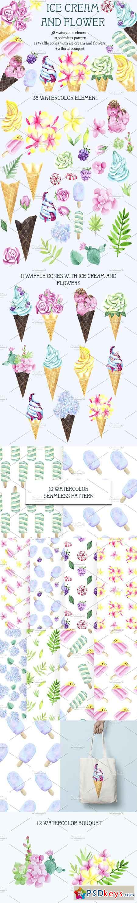 Ice cream and flower Watercolor set 2533048