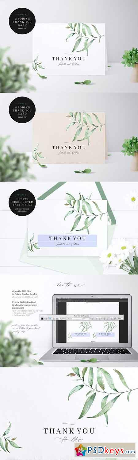 Wedding Thank You Card, Aurora 2442022