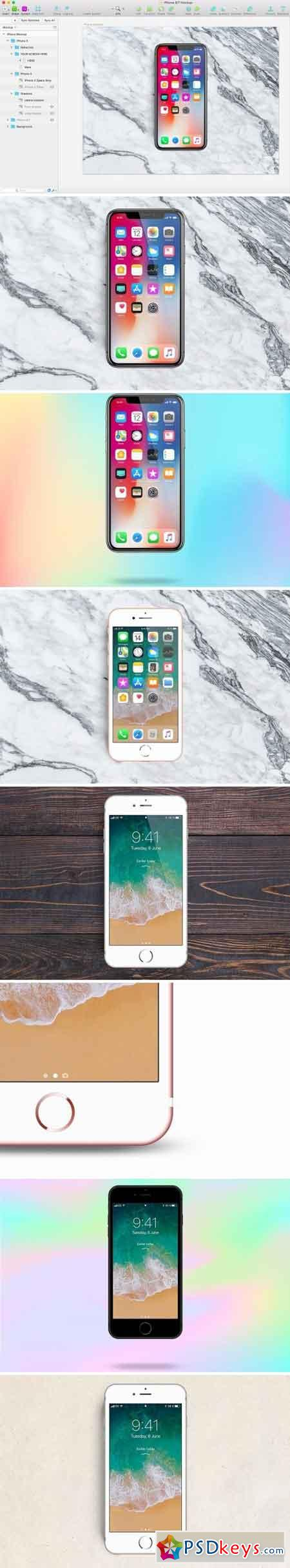 iPhone X, 8 and 7 Mockup • Sketch 1611410