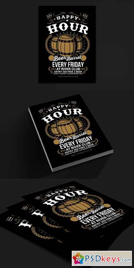 Happy Hour Beer Barrel Flyer 2505489
