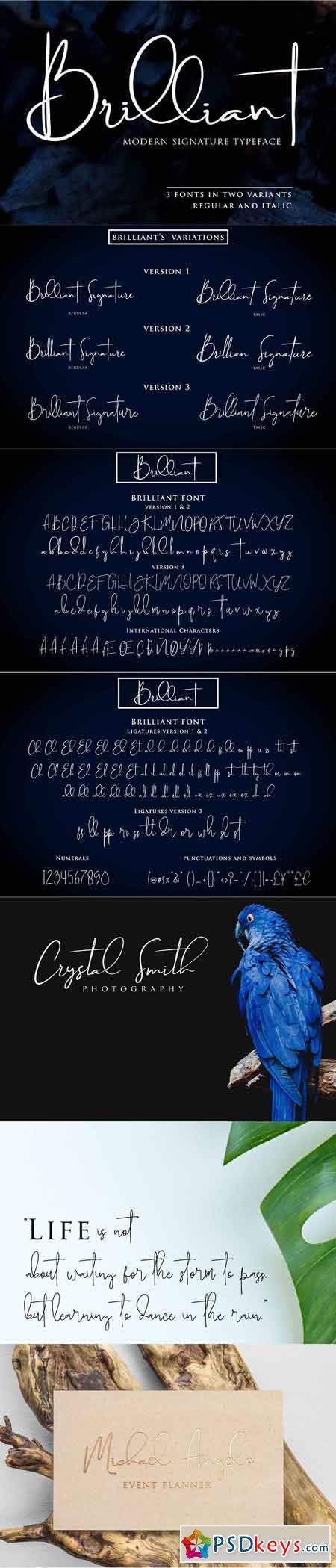 Brilliant - 3 Signature Font 2507105
