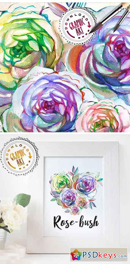 Watercolor Clipart; Rose Wreath 2391544