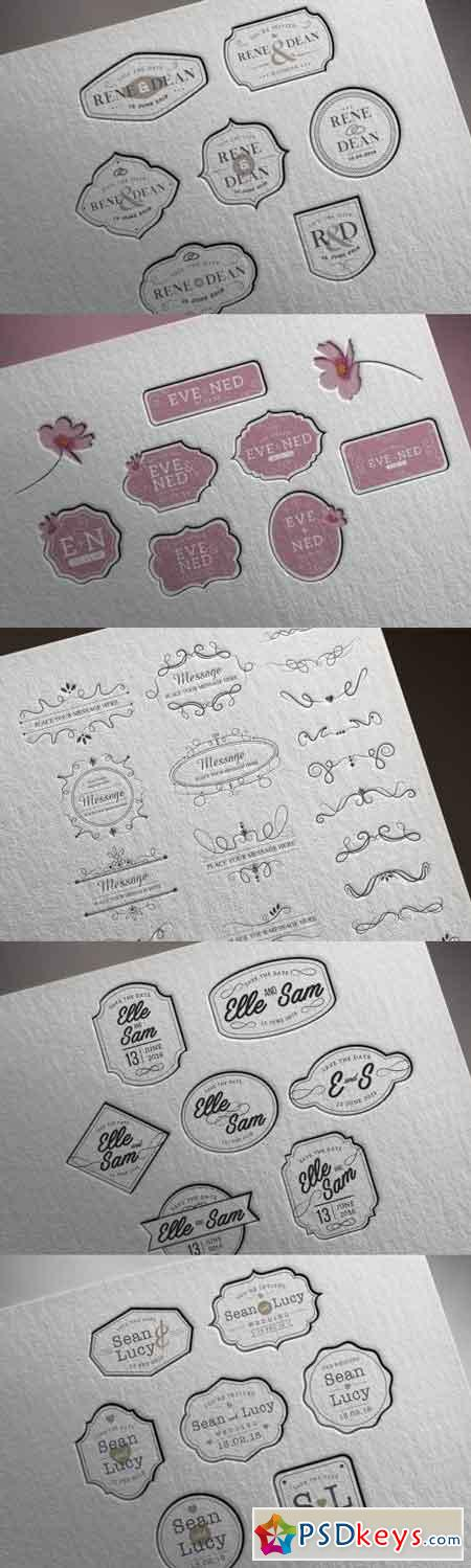 Calligraphic Design Elements Badges