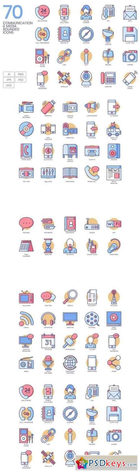70 Communication & Media Rounded Icons