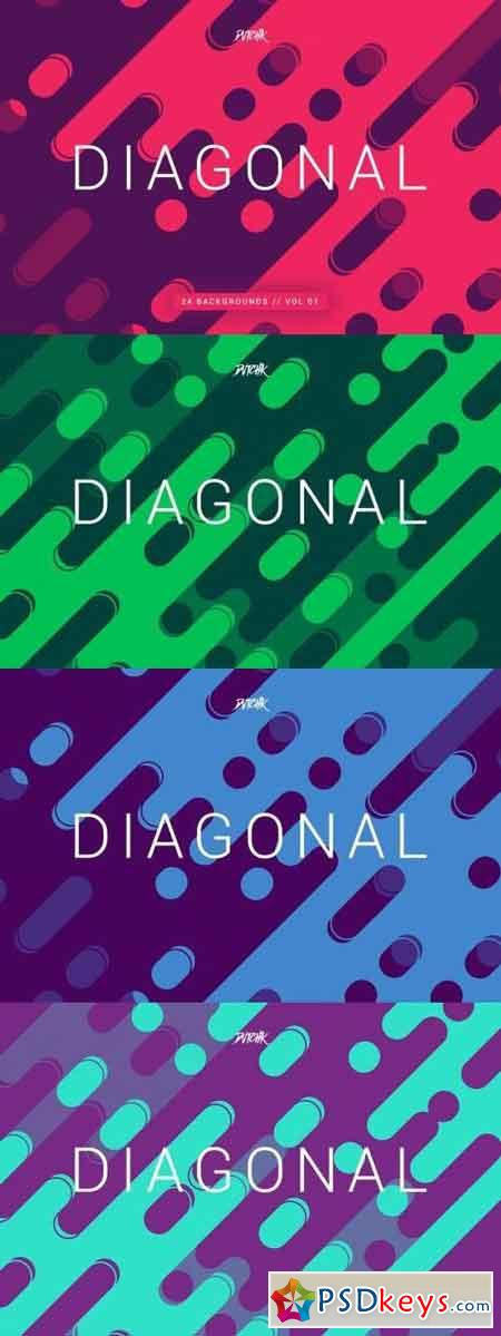Diagonal Rounded Lines Backgrounds Vol. 01