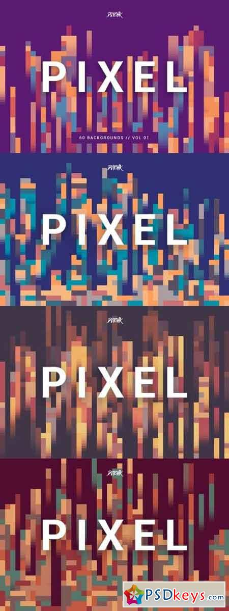 Pixel Colorful Motion Square Backgrounds V. 01