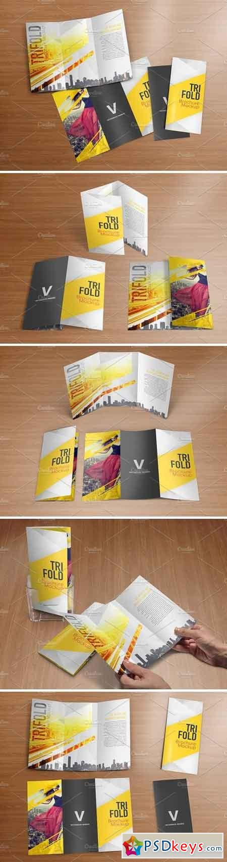 Realistic Trifold Brochure Mockups 1590629