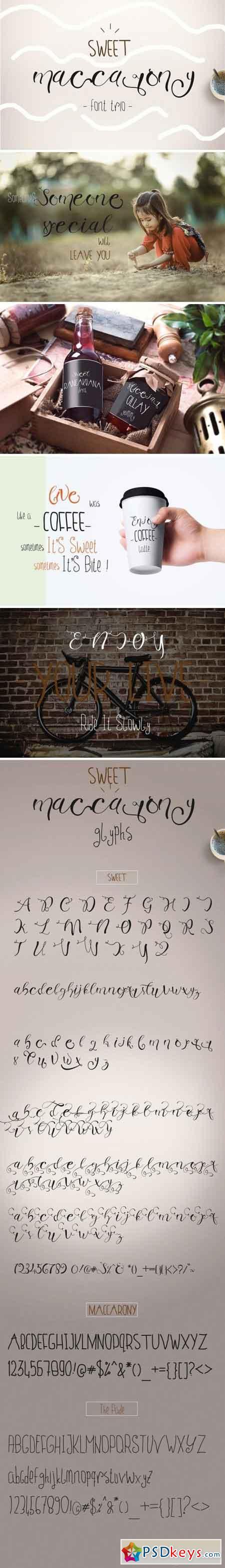 Sweet Maccarony Font Trio 1602222