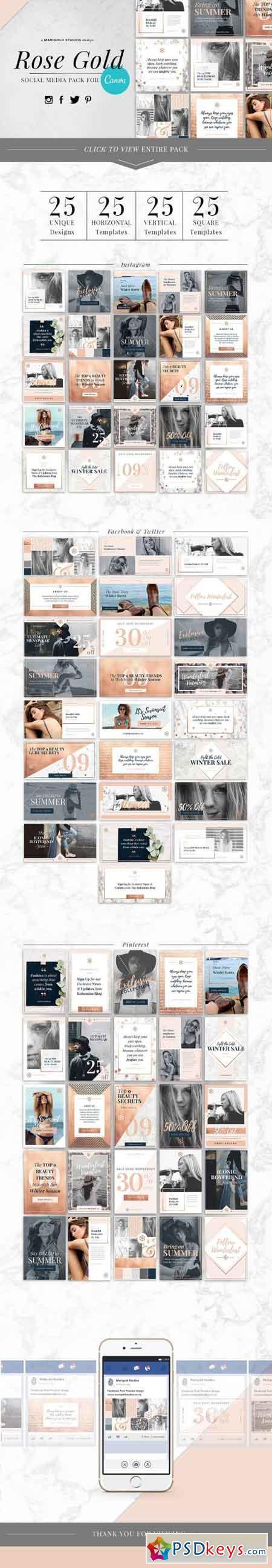 CANVA Rose Gold Social Media Pack 1602012