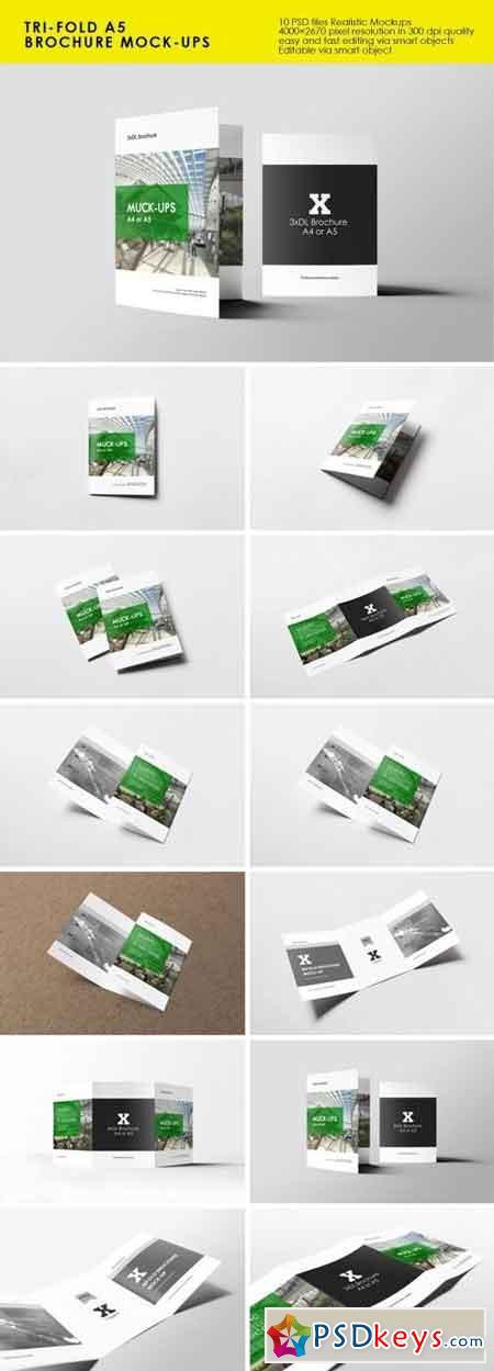 Tri-Fold A5 Brochure Mock-ups 1601689