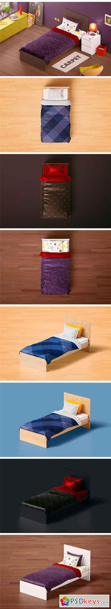 Bedding Set Mockup Single Bed 2387759