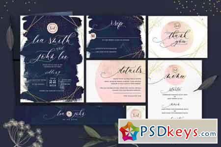Glitter Wedding Invitation Set