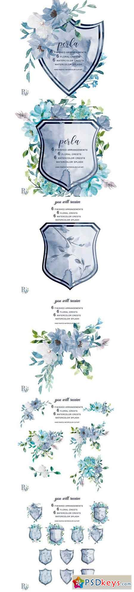 Watercolor French Blue Floral Crests 237974