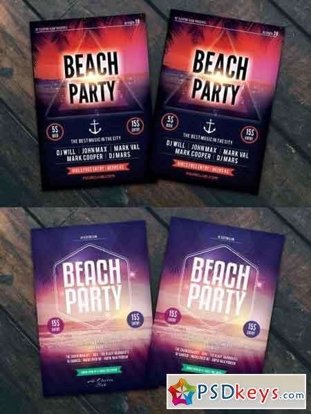 Beach Party Flyer Poster Bundle