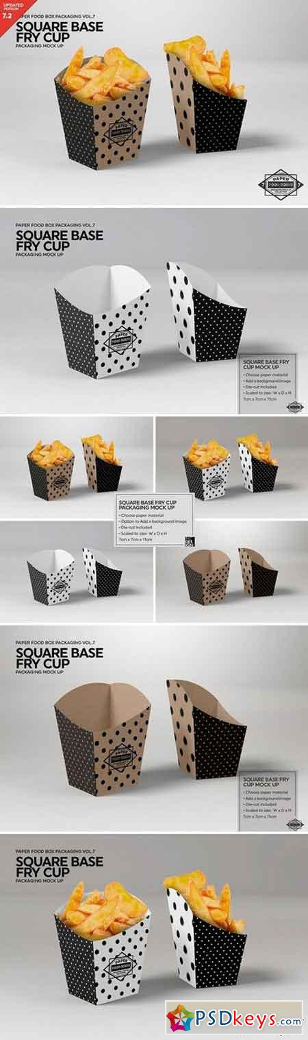Square Base Fry Cup Packaging Mockup 2487970
