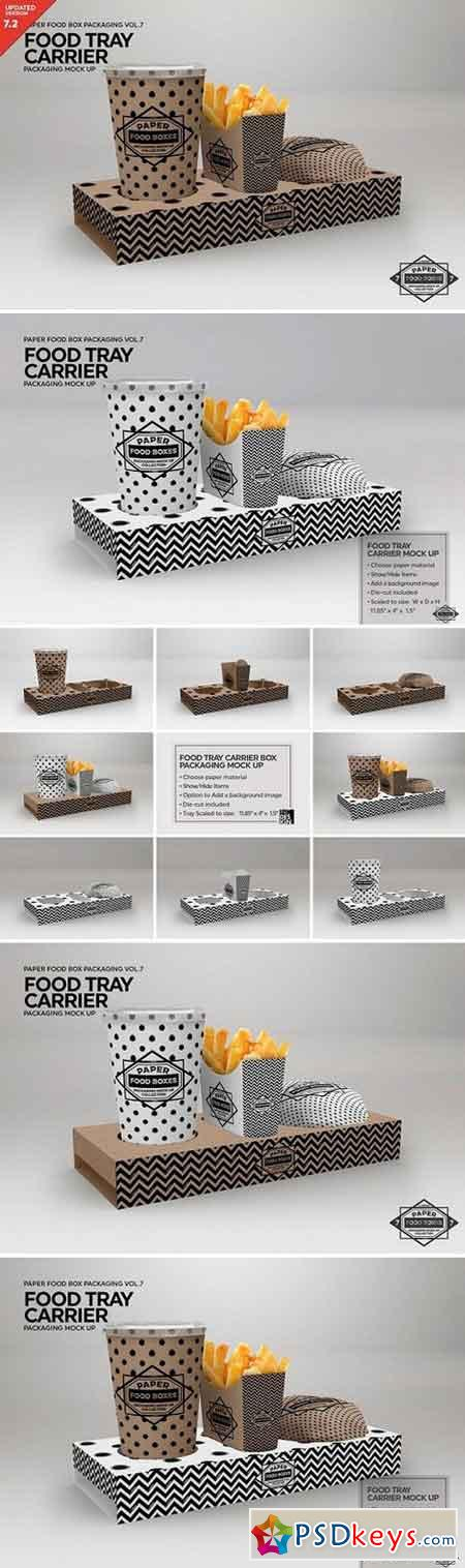 Food Tray Carrier Packaging Mockup 2487968
