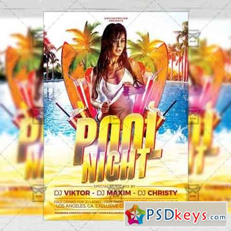 Pool Night Flyer – Seasonal A5 Template