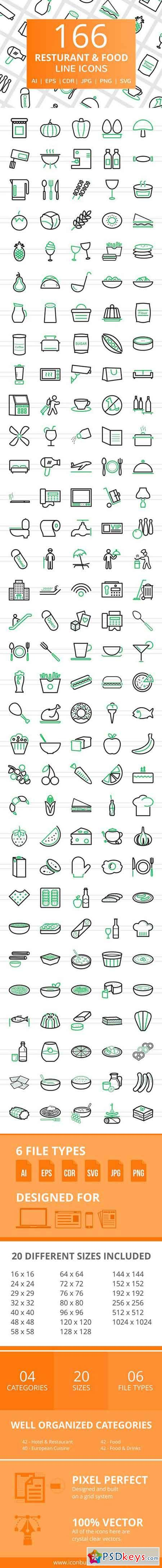 166 Restaurant & Food Line Icons 2456593