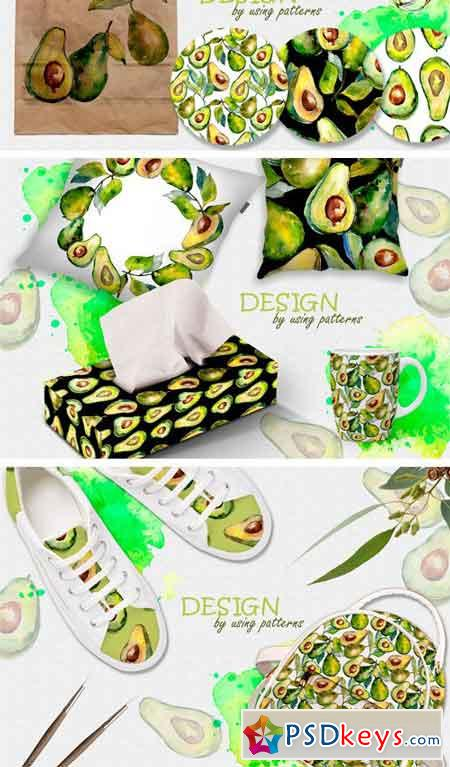 Avocado Event PNG Watercolor Set 2392606