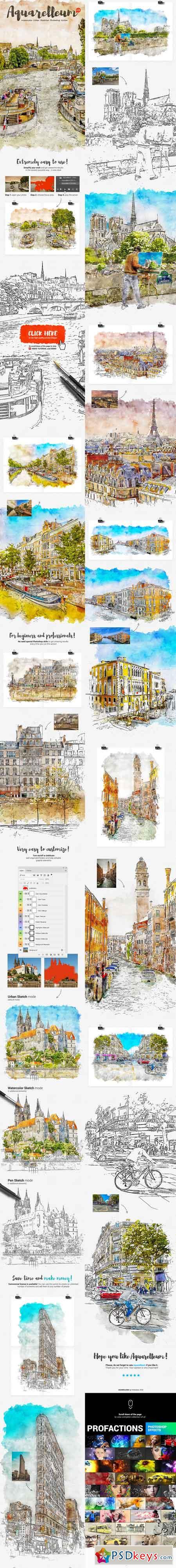 Aquarelleum - Urban Sketcher Photoshop Action 21938349