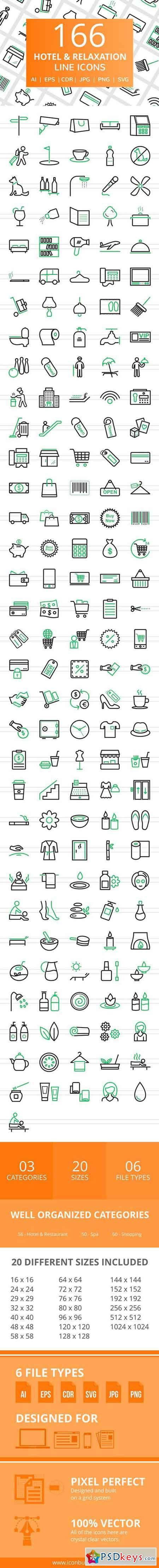 166 Hotel & Relaxation Line Icons 2456458