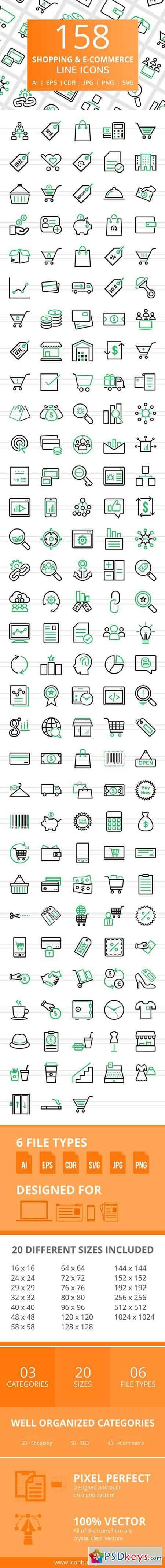 158 Shopping & E-Commerce Line Icons 2456439
