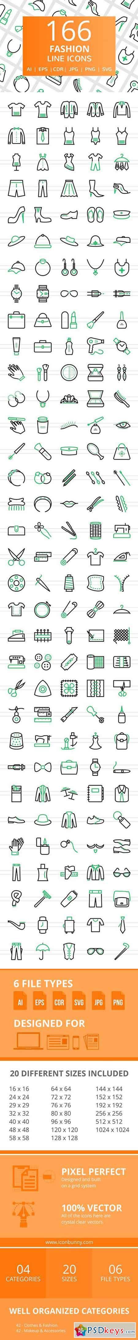 166 Fashion Line Icons 2456514