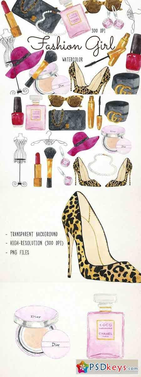 Watercolor Fashion Girl Clipart