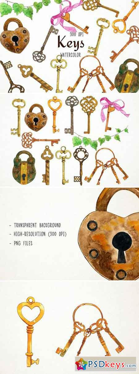 Watercolor Keys Clipart 2486530