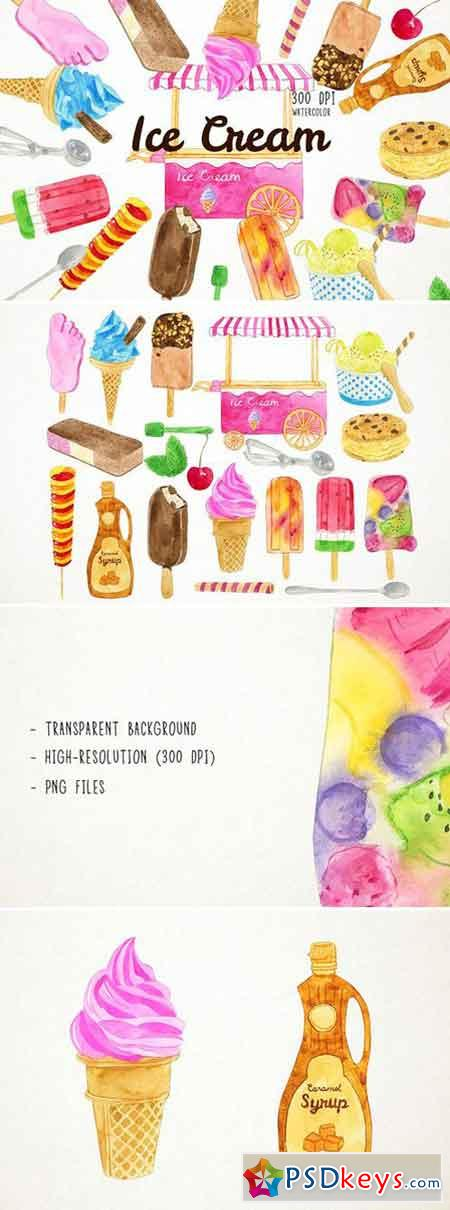Watercoor Ice Cream Clipart 2486534