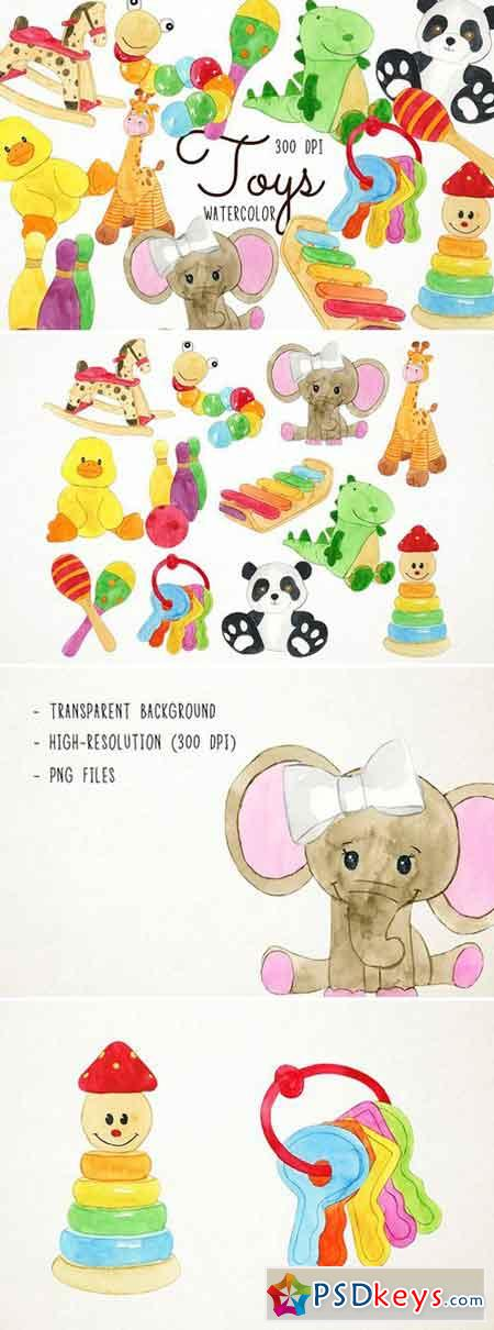 Watercolor Toys Clipart 2486502