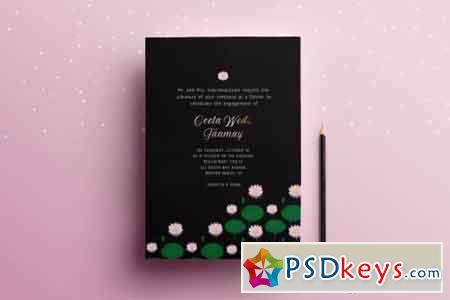 Lotus Wedding Invitation Card