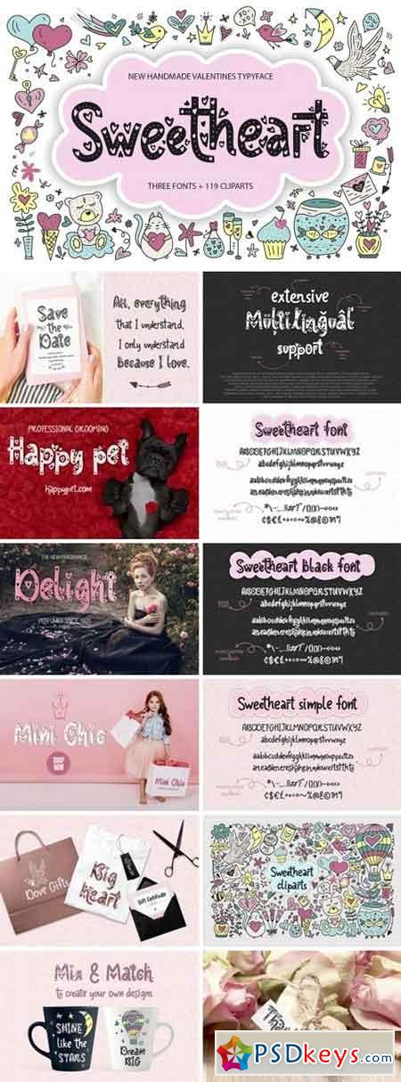3 Sweetheart fonts + 119 clip arts 2159184