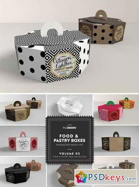 Food Pastry Boxes Vol.3 Packaging Mockups
