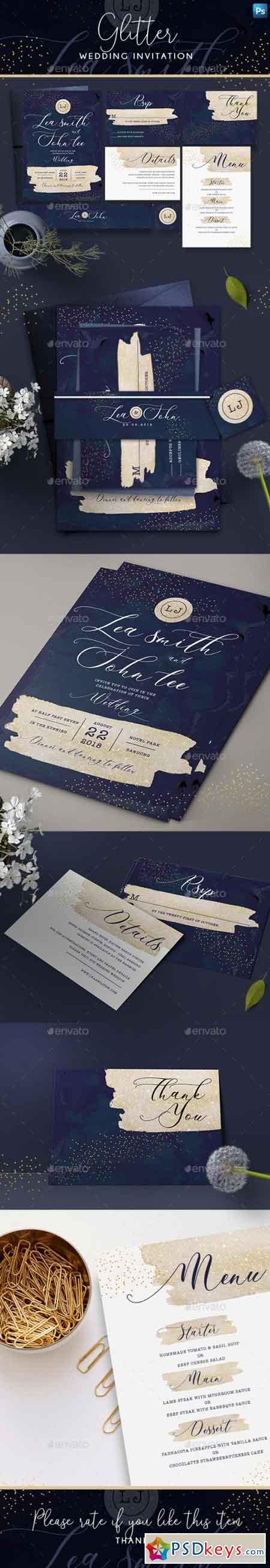 Glitter Wedding Invitation 22001004
